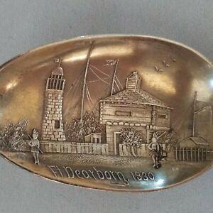 Antique Ft Dearborn Chicago 1830 Sterling Silver Souvenir Spoon