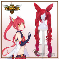 LOL Star Guardian Jinx the Loose Cannon Cosplay wig 1M Red wave 2 Ponytail Hair