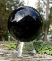 146.3g POWERFUL NATURAL GLOSSY BLACK OBSIDIAN Crystal Sphere w/Stand ITALY Reiki