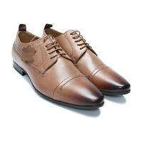 Men's Leather Shoes Lace Up Cap Toe Derby Shoes with Dual Tone (AU/UK Size)