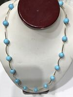 14k Solid Real Gold Necklace Blue Manmade Turquoise Yellow Wave Vintage