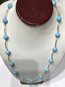 """GOLD 14k Real Necklace Blue manmade Turquoise Yellow Wave Vintage 16"""""""