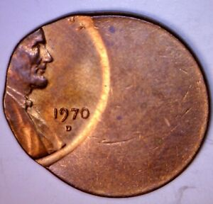 1970d ERROR Off Center Lincoln Cent Coin Unc. / BU 'D' DENVER MINT O/C LOT #1 NR