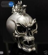 Retro Resin Statue Demon Punk Skull Figurine Halloween Skeleton Spooky Tattoo