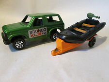 1977 Tootsietoy Ford Bronco XLS 4x4 Motorcyle/Boat Trailer & Sports Raft (MINT)