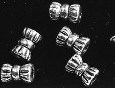 100 X Antique Silver Bowknot Tibetan Style Spacer Beads 6 Mm