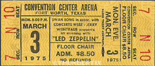 1 Led Zeppelin Vintage Unused Full Concert Ticket 1975 Fort Worth , Texas