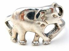 Sterling Silver Elephant Ring Size 8 Vintage 925 Trunk Up For Good Luck Band