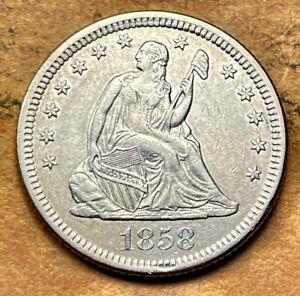 1858-O Seated Liberty Quarter   **TOUGH FIND**