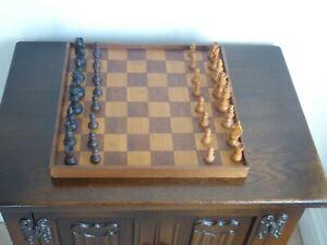 Vintage Staunton Chess Set & Wooden Board