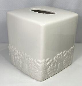 Simply Shabby Chic Bathroom Tissue Box Cover White Ceramic Floral Ornate Design