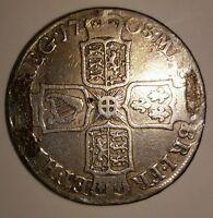 Queen Anne half crown silver coin 1708 post union. Not E. Collector coin