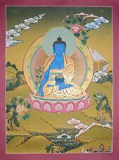 "29.5"" x 22.5"" Medicine Buddha Tibetan Buddhist Thangka Scroll Painting Frm Nepal"