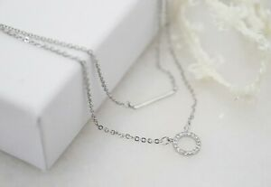 925 Sterling Silver Double Layer Necklace Pendant Ring Circle Modern Jewellery
