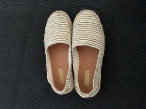 Diana Ferrari Sz 7 Slip On Shoes. Taupe And White Stripe. Leather Inner Sole