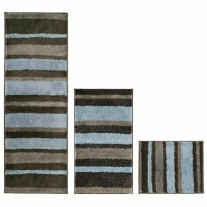 mDesign Microfiber Bath Mat Rugs/Runner, Striped Print, Set of 3 - Mocha/Gray