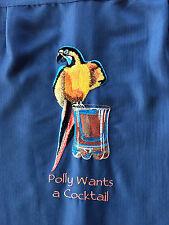 Caribbean Mens Hawaiian Camp Shirt S Embroidered Polly Wants A Cocktail NWT $89