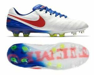 Nike Tiempo Legend VI FG ACC Women Soccer Cleats Shoes,White/Red/Blue,844248-164
