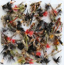 Barbless Trout Fishing Flies Gold Headed Nymph Buzzer, Random Barbless Selection