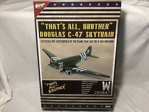 """Vintage Fuel WWII D-Day """"That's All Brother"""" Douglas C-47 Skytrain 1:72 Plane"""