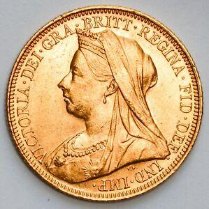 CHOICE 1900-S AUSTRALIA Sydney Mint Queen Victoria Veiled Head Gold Sovereign