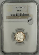 1912-D Barber Silver Dime 10c Coin NGC MS-62 RF
