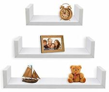 Greenco Set of 3 Floating U Shelves, White Finish