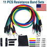 Resistance Bands 11 PCS Set Yoga Pilates Abs Exercise Fitness Tube Workout Bands