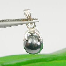8mm Ball Black Hematite Gemstone Pendant Genuine 925 Sterling Silver - P101ap