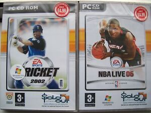 2 GAMES--EA SPORTS---NBA LIVE & CRICKET---SPORTS ---PC CD---NEW--FREE POST TO UK