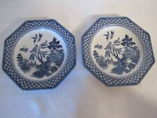 Royal Staffordshire Meakin  Blue & White Willow 2 Bread & Butter Plates Crazing
