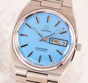 VINTAGE OMEGA SEAMASTER AUTO CAL1022 DAY&DATE SKY BLUE DIAL MEN'S WATCH