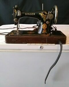 Vintage Singer Model 28 Sewing Machine Bentwood Case ~ Tested ~ Works ~ AS-IS