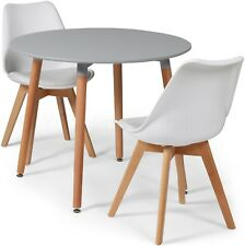 Toulouse Tulip Eiffel Style Dining Set 90cms Round Grey Table & 2 White Chairs