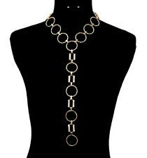 Bling RHINESTONE Y-LINE CIRCLE Link CHAIN Statement Necklace & Earrings SET~GOLD