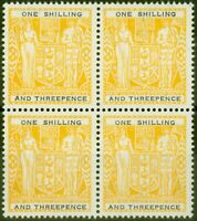 New Zealand 1955 1s3d Yellow-Black SGF192aw Wmk Upright V.F MNH Block of 4