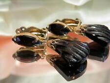 Beautiful Vintage 1970 Lewis Segal Black Glass Dangle Earrings 756my