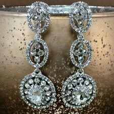 Crystal 3 Tier Circle Long Earrings, Silver