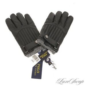 NWT Polo Ralph Lauren Black Motorcycle Ribbed Leather Grey Knit Cuff Gloves L NR