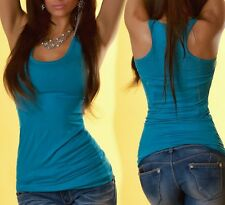 Sexy Miss Ladies Girly Ringer Tank Top Long Tank Top One Size XS/S Turquoise