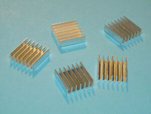5 X Aluminium Heatsink Kühlkörper silber silver 20x20x6mm Alu Kühler Cooler