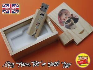 wooden usb with box personalised with any logo name text photo 16gb usb 2.0