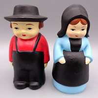 Vintage Amish Boy Girl Salt & Pepper Shakers Amish Man Woman Hand Made in Korea
