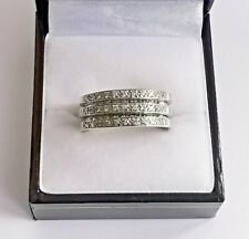 9ct WHITE GOLD DIAMOND BAND RING 5 tier layered piece 8.5mm thick & chunky