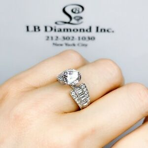 SEMI MOUNT ENGAGEMENT RING ROUND & BAGUETTE DIAMONDS 0.59 CT IN 18 K WHITE GOLD