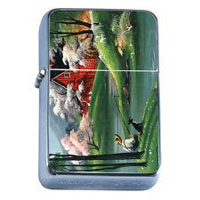 Windproof Refillable Flip Top Oil Lighter Fishing D1 Fisherman Trout Lake Water