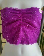 Victoria's Secret PINK~purple lace strapless rhinestone Bandeau Bra  Size L