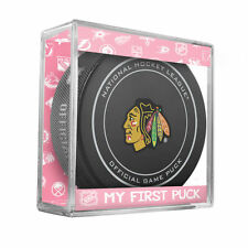 NEW CHICAGO BLACKHAWKS MY FIRST OFFICIAL PUCK IN CASE BABY GIRL PINK