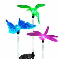 Set of 3 Solar Power Garden Stake 6 LED Lights Hummingbird, Butterfly, Dragonfly