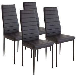 Set 4 Sedie Moderne sala Pranzo Salotto Cucina Seduta Imbottita Ecopelle Nero